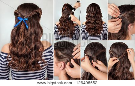 twisted hairdo on curly hair tutorial. Hairstyle for long hair. Sea style