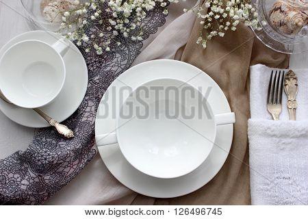 Table mockup menu mockup. Wedding fashion photography. Wedding invitation. Place card or reserved card. White beautiful dishware.