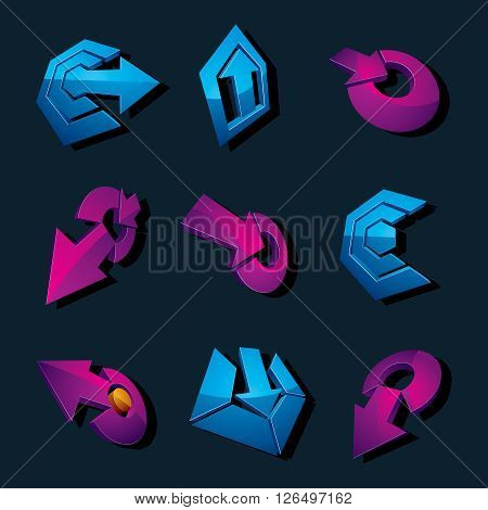 Vector 3D Simple Navigation Pictograms Collection. Set Of Blue And Purple Corporate Abstract Design
