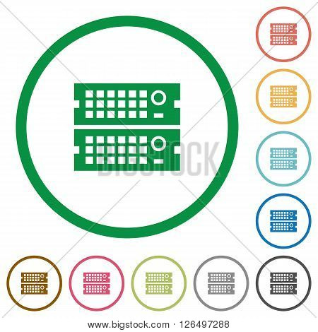 Set of rack servers color round outlined flat icons on white background