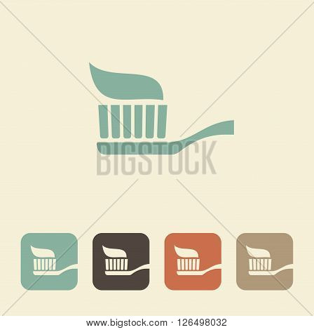 Silhouette of a toothbrush with toothpaste. Simple vector icon