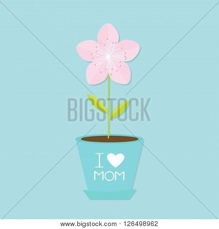 Sakura flower pot. Japan blooming cherry blossom. Blue background. I love mom Happy mothers day Text with heart sign Greeting card Flat design style Vector illustration