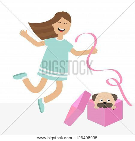 Girl jumping for joy. Gift box with puppy pug dog Happy child jump. Cute cartoon laughing character in blue dress holding ribbon. Open giftbox. Smiling woman. Isolated White background Flat Vector