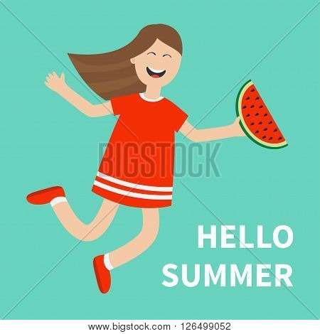 Cute cartoon laughing character in red dress holding watermelon slice. Smiling woman. Blue background. Hello summer greeting card. Girl jumping Happy child jump. Flat design Vector illustration