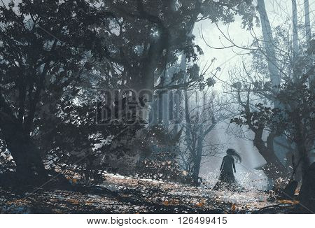 woman in mysterious dark forest, illustration painting
