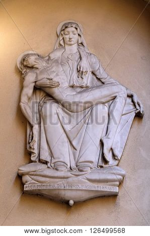 FLORENCE, ITALY - JUNE 05: Pieta, statue on the house facade in Florence, Italy, on June 05, 2015