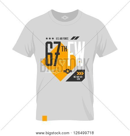 Modern american air force tee print vector design. Premium quality superior number logo concept. T-shirt U.S. aircraft mock up.