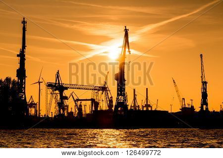Silhouette Of Cranes In The Harbour