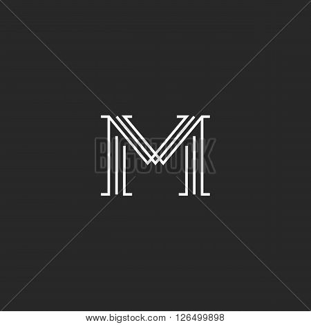 Monogram letter M logo mockup thin line decoration hipster initial outline black and white graphic wedding invitation emblem