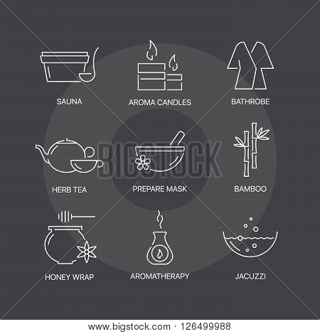 Spa thin line icons set on dark background. Exceptional elegant linear logo concept. 