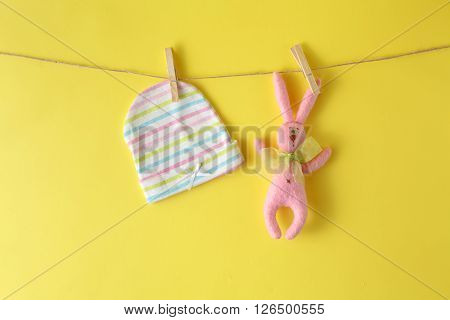 Baby Hat At And Rope With Rabbit Toy