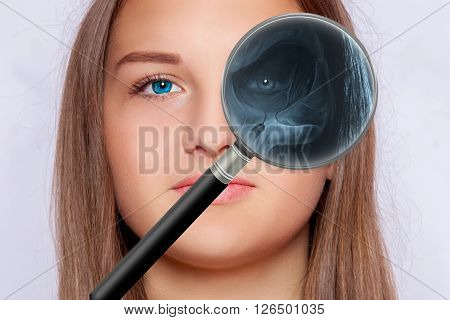 Radiograph of a face, ophthalmology, magnifying glass