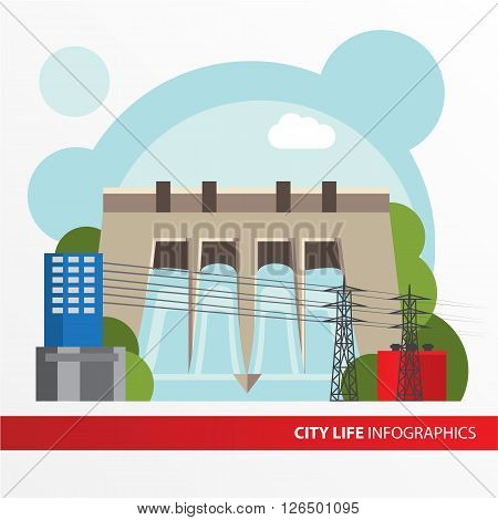 Hydroelectric power station. Colorful illustration in a flat style. City infographics set. All types of power stations. System with transmission tower and generator and Dam. Front view.