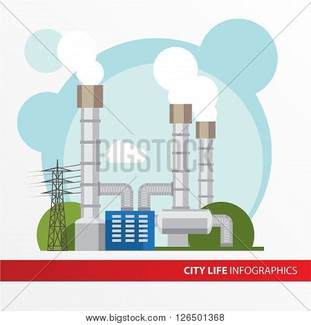 Geothermal power station Colorful illustration in a flat style. City infographics set. All types of power stations. System with turbine, condenser, separator and generator