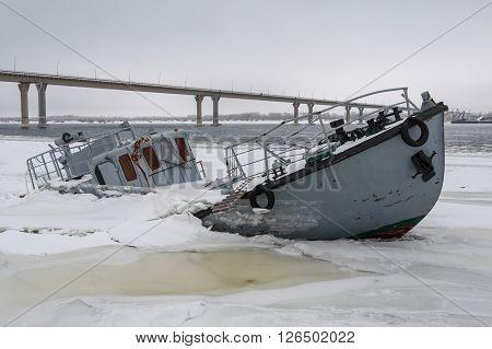 Sinking Boat In A Frozen River