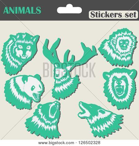 Animals Stickers set - wolf, bear, panda, deer - vector illustration