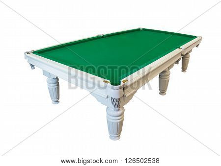 White wooden billiards table with figured ornamental carving isolated on white background