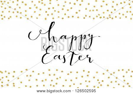 Pretty Easter card template. Gold glitter confetti on white background. Vector illustration.