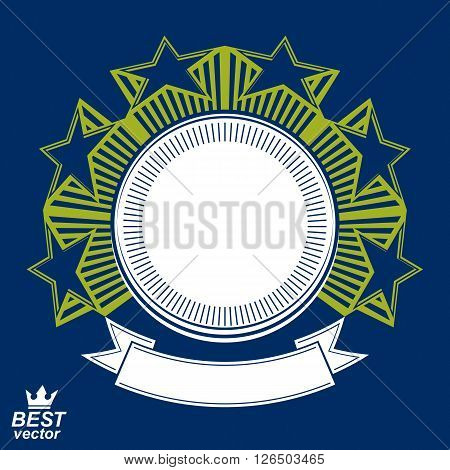 Vector Stylized Corporate Design Element, Celebrative Stars Web Emblem. Union And Solidarity Theme –