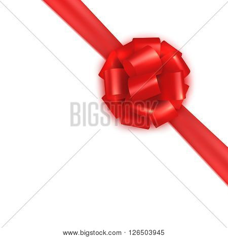 Red realistic gift wrapping silk satin bow tie. Design template for certificate, voucher, gift card, brochure. Colorful vector illustration isolated on white.