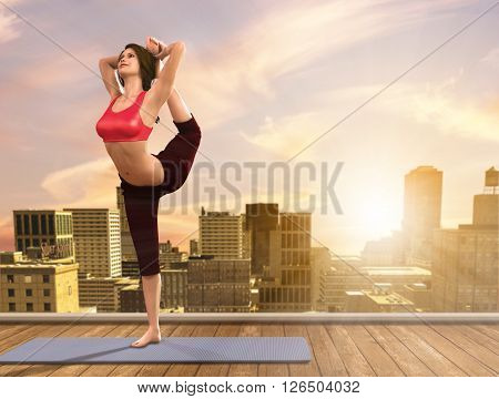 3D illustration of a woman doing Yoga poses on city rooftop.