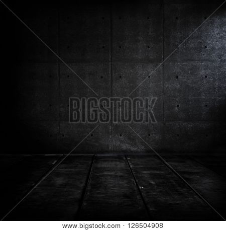 Black dark concrete room. Dark concrete wall and floor.