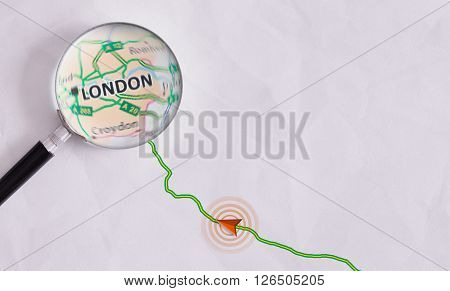 Concept Travel Route Destined For London
