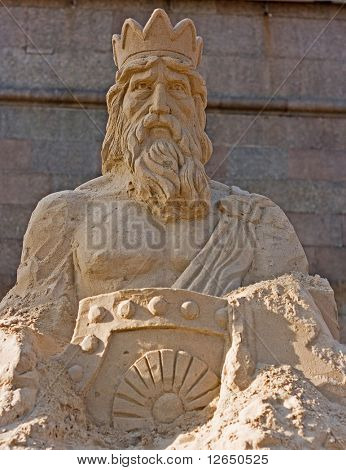 neptune god sand sculpture