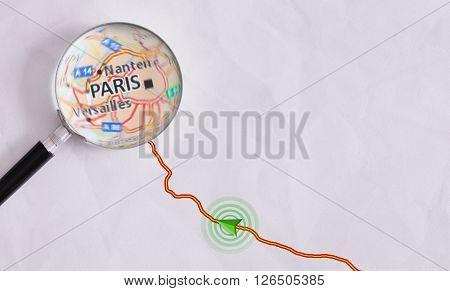Concept Travel Route Destined For Paris