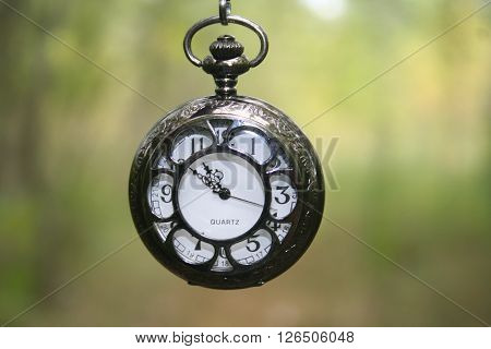 A silver pocketwatch with a green background