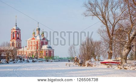 Forty Martyrs Church on the banks of snow covered river in Pereslavl Zalessky in Russia