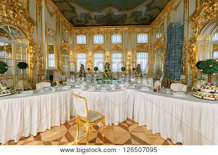 SAINT PETERSBURG, RUSSIA - MARCH 17, 2016: Interior of the Catherine Palace in Tsarskoye Selo (Pushkin). It was the summer residence of the Russian tsars, now it is a famous museum