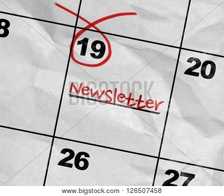 Concept image of a Calendar with the text: Newsletter