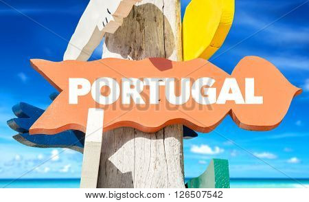 Portugal signpost with beach background