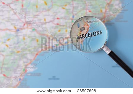 Consultation With Magnifying Glass Map Of Barcelona