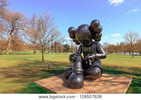 WAKEFIELD, YORKSHIRE, UK - APRIL 19: Sculptures by the renowned American artist KAWS exhibited at the Yorkshire Sculpture Park on April 19, 2016.