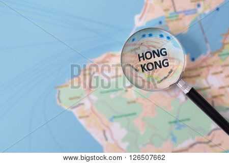 Consultation With Magnifying Glass Map Of Hong Kong