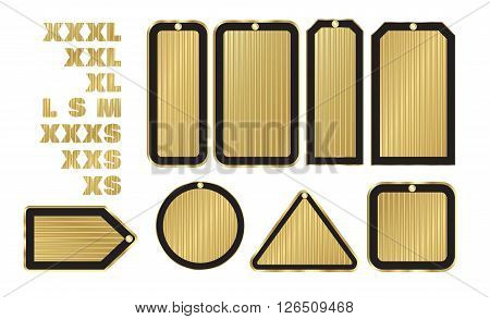 vector blank gold price tags of various shapes with a black stroke