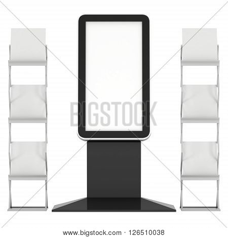 LCD Display Stand and Magazine Rack. Blank LCD Trade Show Booth. 3d render isolated on white background. High Resolution LCD. Ad template for your expo design.