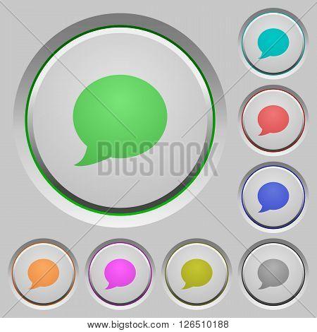 Set of color blog comment sunk push buttons.