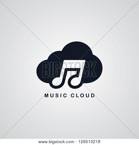 music song cloud theme vector art illustration