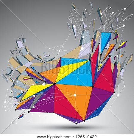 3D Vector Digital Wireframe Object Broken Into Different Particles And Refractions, Colorful Geometr