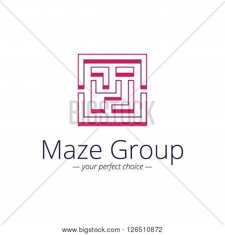 Vector minimalistic maze logo. Labyrinth geometric symbol