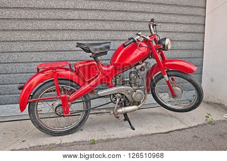 VOLTANA DI LUGO (RA) ITALY - APRIL 10: vintage Italian moped Motom 48, low fuel consumption four-stroke engine, in motorcycle rally