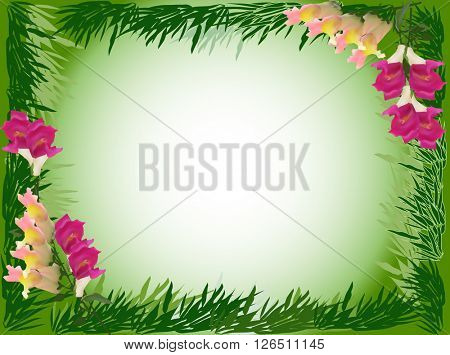 illustration with flowers and green bamboo frame