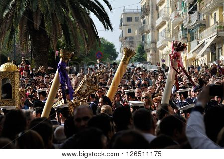 CORFU GREECE - APRIL 18 2009: Sailors and priests carrying the Epitaph during the customary lament procession through a crowd on the morning of Holy Saturday.