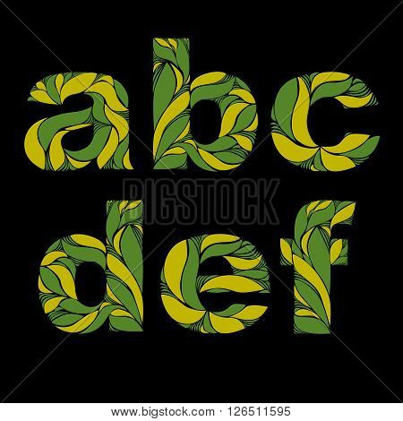 Beautiful Font With Herbal Ornament. Green Capital Letters Decorated With Spring Floral Pattern. A,