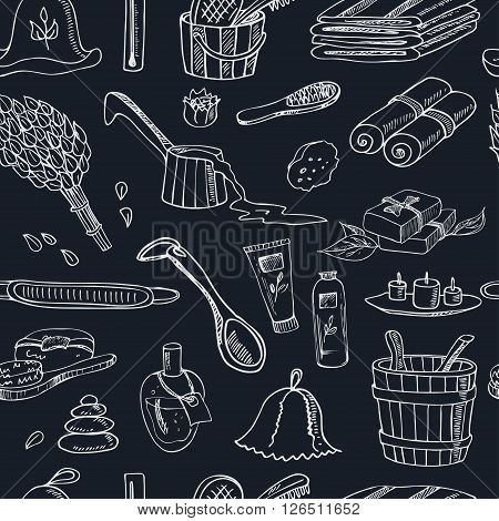 Sauna accessories doodle seamless pattern.. Sketch. Hand drawn spa items collection. Vector illustration  for design menus, recipes and packages product.