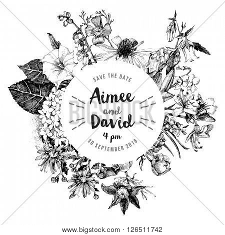 Black and white hand drawn botanical wedding invitation