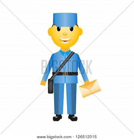 Vector image of a postman with a letter. White background.